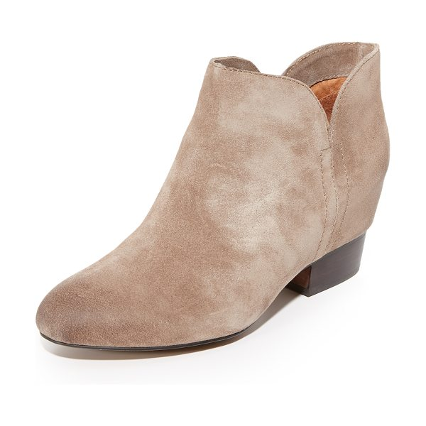 Matiko tabine booties in taupe - A hidden wedge gives a subtle lift to these distressed...