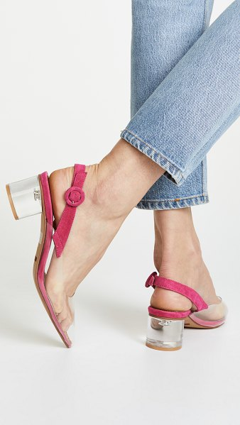 MATIKO zuma block heel pumps in clear/pink - Fabric: Vinyl Suede trim Slingback strap Chunky heel...