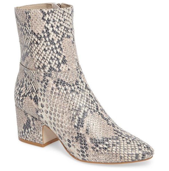 Matisse at ease genuine calf hair bootie in natural snake leather - Exotic texture takes center stage on a block-heel bootie...