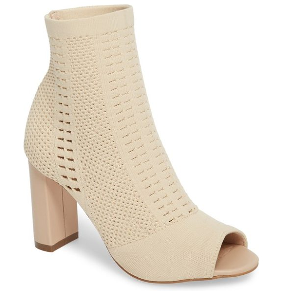 Matisse can't stop open toe sock bootie in natural stretch - Mixed stitches distinguish a trend-right sock bootie...
