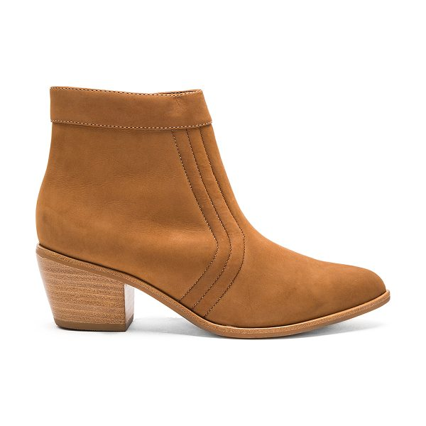Matisse Cece Booties in tan - Leather upper with man made sole. Side zip closure....