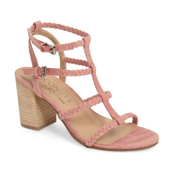 Matisse coconuts by  cora sandal in pink suede - Braided straps and a stacked block heel underscore the...