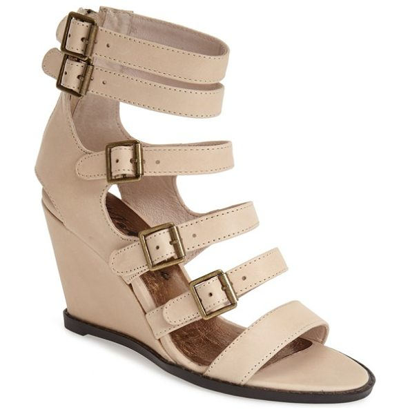 Matisse honor wedge sandal in beige - An array of buckle straps heightens the modern allure of...