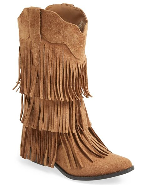 Matisse saloon fringe tall boot in tan - Tiered fringe adds flouncy movement with every step in a...