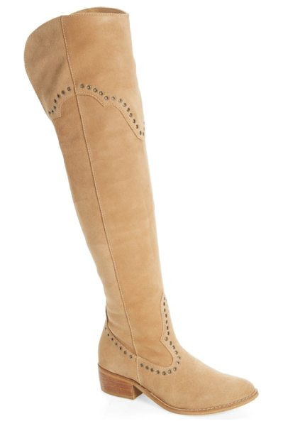 Matisse studded western over the knee boot in natural suede - Flat disc studs punctuate the Western-inspired seaming...