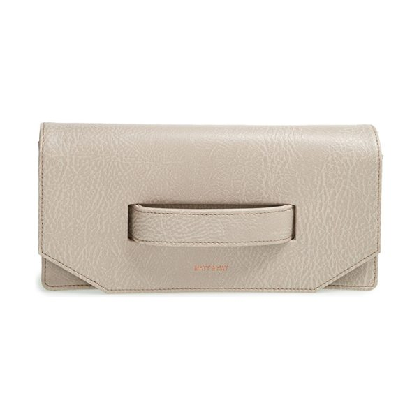 Matt & Nat Abiko faux leather clutch in champagne - A chic faux-leather clutch features a sleek front handle...