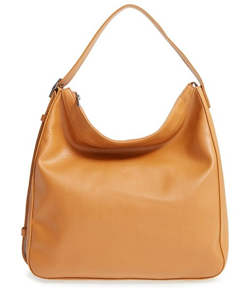 Matt & Nat Glance vegan leather shoulder/crossbody hobo in curry - The convertible strap on a lightly pebbled hobo made...