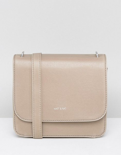 "MATT & NAT Matt & Nat Minimal Cross Body Bag in Nude - """"Cart by Matt Nat, Smooth outer, Recycled plastic..."