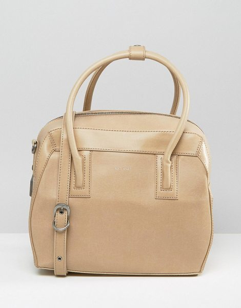 Matt & Nat Matt & Nat Structured Tote Bag in beige - Cart by Matt Nat, Vegan leather outer, Recycled plastic...