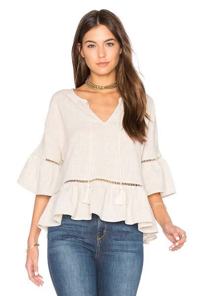 Maven West Ruffle Lattice Top in beige - 85% rayon 15% linen. Dry clean only. Keyhole front with...