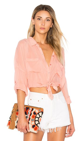 Maven West Stella Button Up in coral - 100% cupro. Front button closures. Front patch pockets....