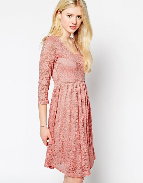 MAX C LONDON Max c skater dress in lace - Lace dress by Max C Mid-weight floral lace Crew neckline...