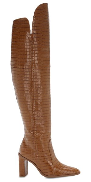 Max Mara 100mm beboot croc embossed leather boots in camel