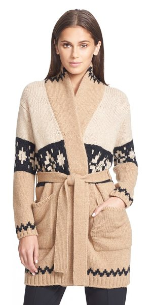 Max Mara abelia intarsia knit cardigan in camel - A cozy intarsia-knit cardigan is modeled after an iconic...
