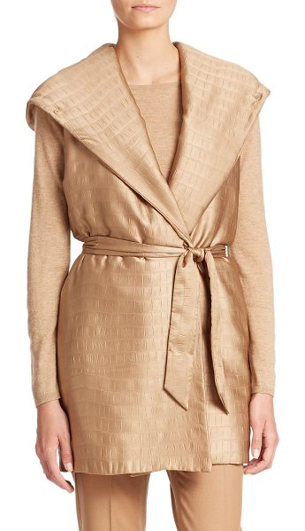 Max Mara Ariel city croc-embossed vest in camel - Crocodile jacquard lends intriguing detail to this...