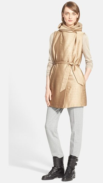 Max Mara ariel hooded crocodile jacquard vest in camel