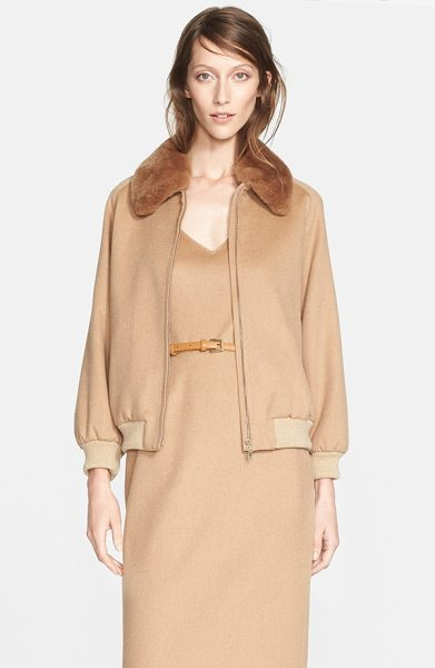 Max Mara bergen camel hair jacket with genuine rabbit fur collar in camel - This camel hair jacket offers a refined take on classic...