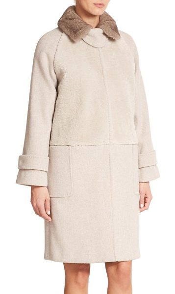 Max Mara Bolero mink-collared shearling & wool/cashmere coat in sand - A natural mink collar trims this exquisite mixed media...