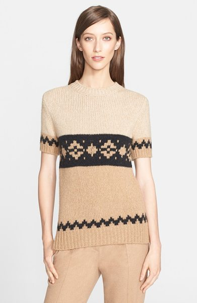 Max Mara bric short sleeve knit sweater in camel - Lush texture and a svelte silhouette redefine a chic...