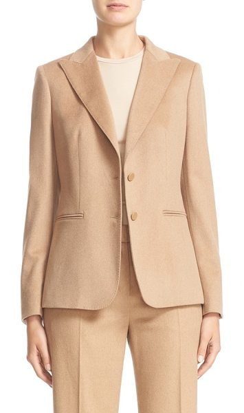 Max Mara chopin two button camel hair blazer in camel - Delicate pickstitching details a timeless peak-lapel...