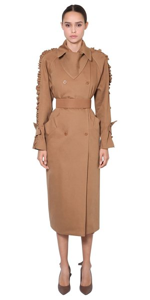 Max Mara Cotton canvas trench coat in brown - Notched collar. Front panel at collar with snap button ....