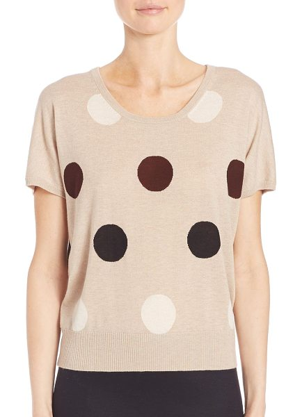 Max Mara deruta polka dot pullover in beige - Graphic polka dots add whimsy to easy knit top....