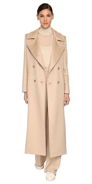 Max Mara Double breasted camel & cashmere coat in light camel