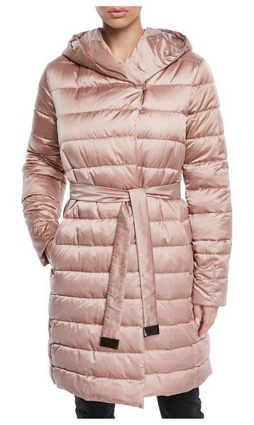 Max Mara Here is the Cube Collection Novef Reversible Belted Down Jacket in pink pattern