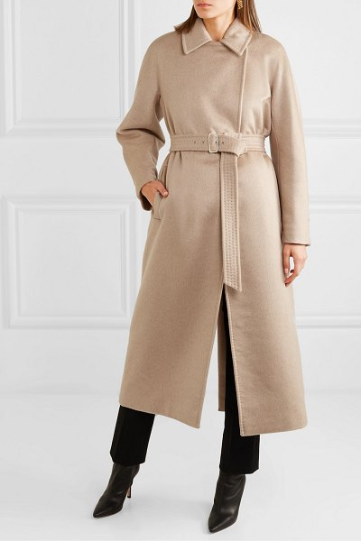 Max Mara jago belted cashmere and wool-blend coat in beige