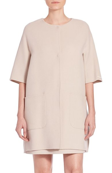 Max Mara Jeff three quarter-sleeve short coat in hazelnut - With its relaxed silhouette and meticulous tailoring,...