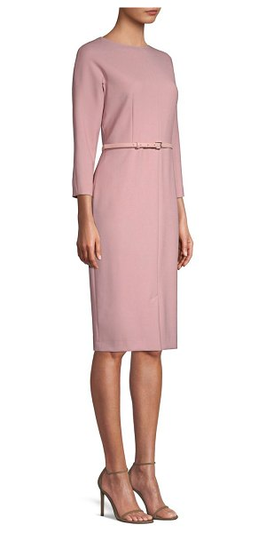 Max Mara karub belted sheath dress in nude - This sheath dress merges structural craftsmanship with a...