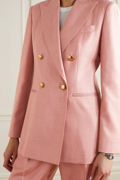 Max Mara lamine double-breasted camel hair and silk-blend twill blazer in blush