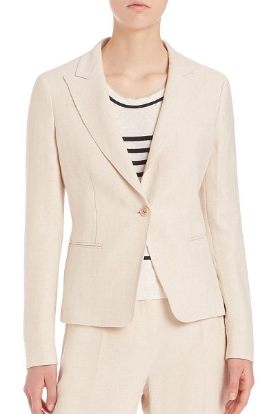 Max Mara linen blazer in sand - Single-button blazer of lightweight flaxlinen. Notched...