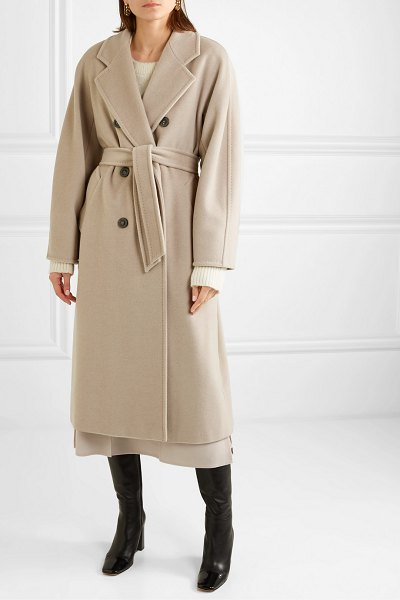 Max Mara madame belted double-breasted wool and cashmere-blend coat in beige