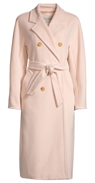 Max Mara madame virgin wool & cashmere belted overcoat in pink