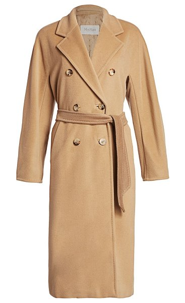 Max Mara madame wool & cashmere belted wrap coat in camel