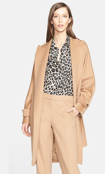 MAX MARA megaton camel hair wrap coat - Intricate pickstitching details a timeless camel hair...