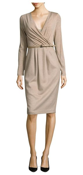 Max Mara narsete wrap dress in beige - Elegant wrap dress designed in rich wool-blend.V-neck....