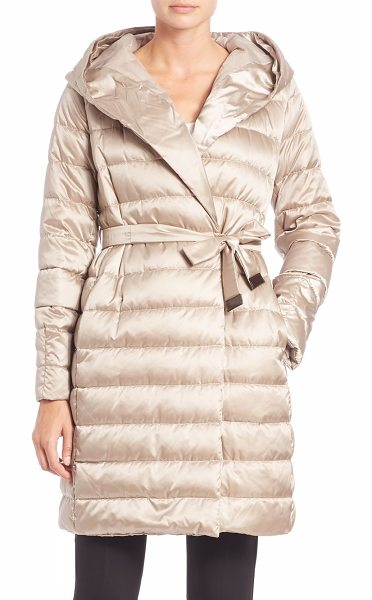 MAX MARA Cube collection novef hooded puffer coat in lightgold - From the Cube collectionGlossy, hooded puffer with easy...