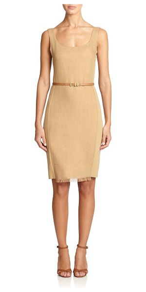 Max Mara Olio fringe-hem sheath in honey - A textured front panel with fringed trim adds dimension...
