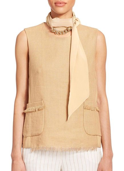 Max Mara Ottuso skinny silk scarf in camel - A gleaming goldtone chain accent decorates this slender...