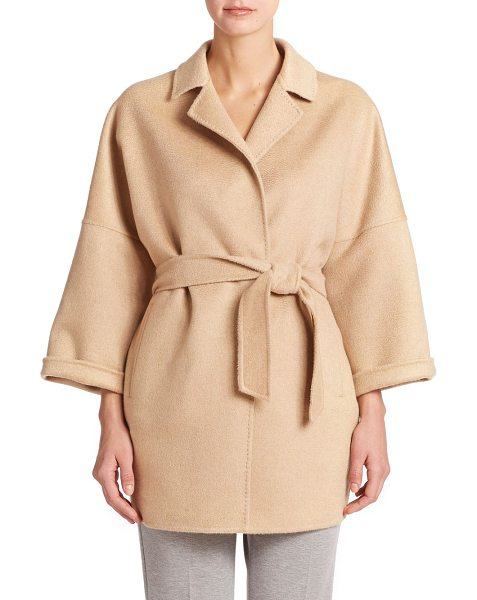 Max Mara Ravello cashmere wrap jacket in camel - Luxury in a relaxed form, woven of pure Italian cashmere...