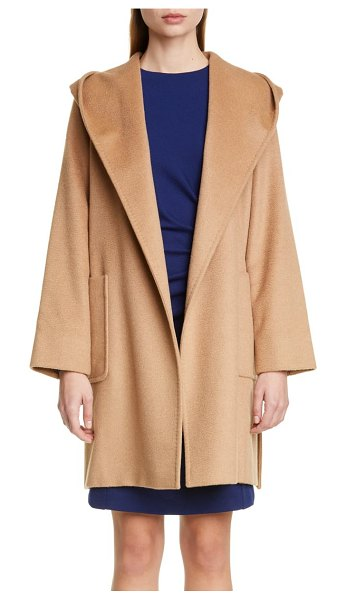 Max Mara rialto hooded camel hair coat in beige