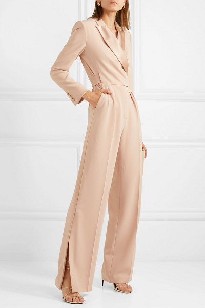 Max Mara silk satin-trimmed cady wrap jumpsuit in beige