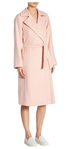 Max Mara soldato belted wrap coat in pink