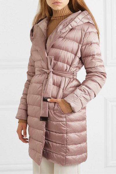 Max Mara the cube hooded belted quilted shell down coat in pink
