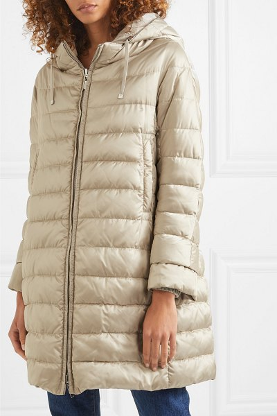 Max Mara the cube hooded quilted shell down coat in taupe
