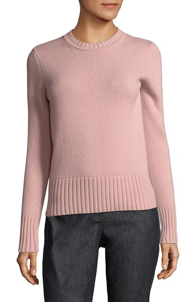 Max Mara virgin cashmere sweater in pink - Soft cashmere sweater with ribbed knit trim. Crewneck....