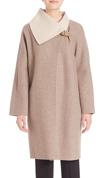 Max Mara wool & cashmere coat in shaded brown - Wool and cashmere coat with asymmetrical shawl collar...