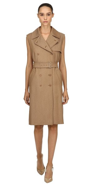 Max Mara Wool drill long trench vest in camel - Double breasted button closure. Includes matching belt ....